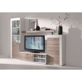 Obývací stěna RITA, dub lanýž/bílá