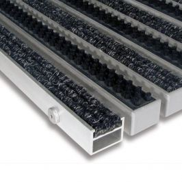 FLOMAT Hliníková textilní čistící vnitřní vstupní kartáčová rohož Alu Extra - 100 x 100 x 2,7 cm
