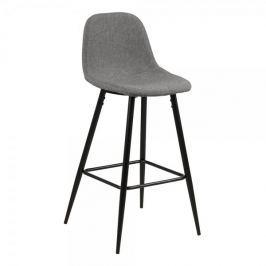 Design Scandinavia Barová židle Wanda (SET 2 ks), černá/sv. šedá