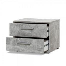 FARELA Noční stolek s 2 zásuvkami Nora, 35 cm, beton