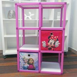 Dětský regál MODlife 6 + 2 úložné boxy Minnie Mouse C a Frozen A