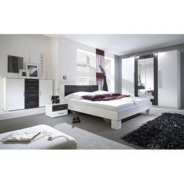 VERA postel 160x200 cm s nočními stolky, bílá/ořech černý