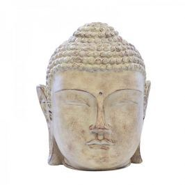 Papillon Soška Buddha hlava v dřevěném designu, 24 cm, světle hnědá