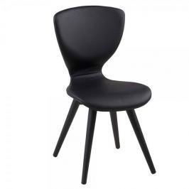 Design Scandinavia Jídelní židle s dřevěnými nohami Greta (SET 2 ks), černá/černá