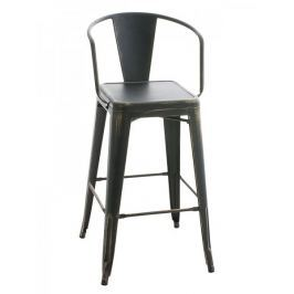 BHM Germany Barová židle kovová Mason L, antik černá