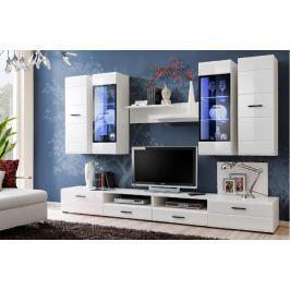 LAUREN, obývací stěna, bílá/bílý lesk MDF