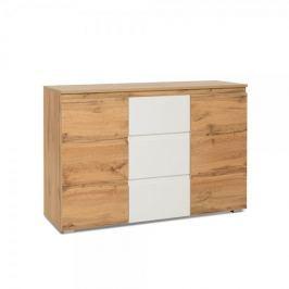 FARELA Kombinovaná skříň / komoda Picture, 120 cm, dub/bílá