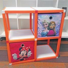 Dětský regál MODlife 4 + 2 úložné boxy Minnie Mouse C a Frozen A