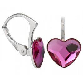 Troli Dívčí stříbrné náušnice Heart Flat Fuchsia stříbro 925/1000