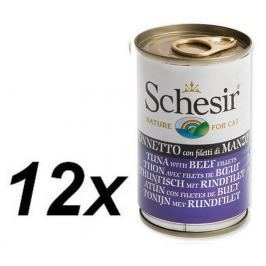 Schesir Konzerva Cat tuňák+hovězí 12 x 140g