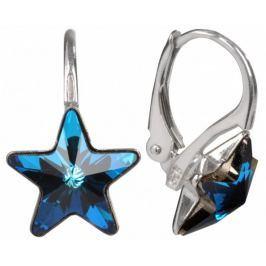 Troli Dívčí stříbrné náušnice Star 10 mm Bermuda Blue stříbro 925/1000
