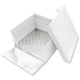 PME Podložka dortová stříbrná čtverec 35,5cm x 35,5cm + dortová krabice s víkem