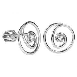 Brilio Silver Spirálkové náušnice s krystalem 436 001 00444 04 - 1,46 g stříbro 925/1000