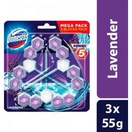 Domestos Power 5 Lavender tuhý WC blok 3 x 55 g