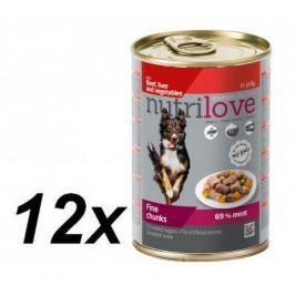Nutrilove Dog chunks, jelly BEEF LIVER VEGIE 12 x 415g
