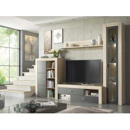 Obývací stěna NIZA, dub sonoma/šedá