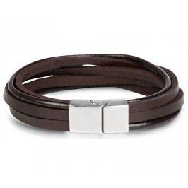 Troli Hnědý kožený náramek Leather