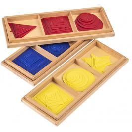 Montessori pomůcky Barevné kruhy, čtverce, trojúhelníky