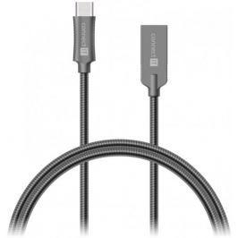 Connect IT CONNECT IT Wirez Steel Knight Kabel (USB-C - USB-A), kovová tmavě šedá , 1 m