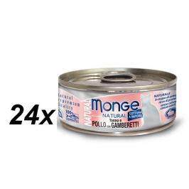 Monge NATURAL kuřecí maso s krevetami pro kočky 24 x 80 g