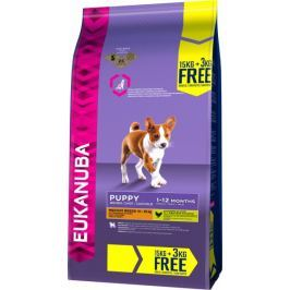 Eukanuba Puppy & Junior Medium Breed 15 kg + 3 kg Zdarma