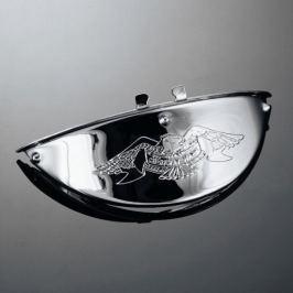 Highway-Hawk štítek LIVE TO RIDE pro hlavní světlo motocyklu, d=140mm, chrom (1ks)