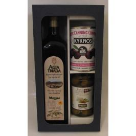 Dárková kazeta Gaia - olej Agia Triada z Kréty, olivy plněné sýrem a višně v sirupu