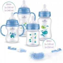 BAYBY Sada 4 dětských lahví s kartáčky - modrá