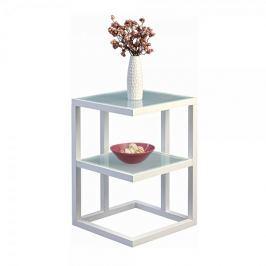Artenat Odkládací stolek Urban, 40 cm, bílá/sklo
