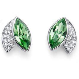 Oliver Weber Elegantní náušnice se zelenými krystaly Leaf 22686 MUL