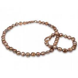 JwL Luxury Pearls Souprava náhrdelníku a náramku z pravých zlatohnědých perel JL0163 stříbro 925/1000