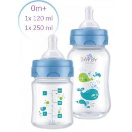 BAYBY Sada 2 kojeneckých lahví 0m+, modrá