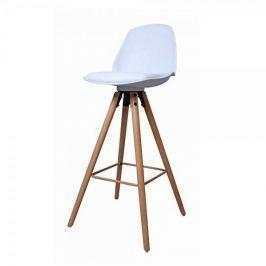 Danish Style Barová židle s dřevěnou podnoží Stephie, bílá