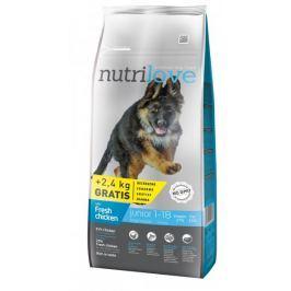 Nutrilove Dog Junior Large Fresh Chicken 12kg + 2,4kg Zdarma