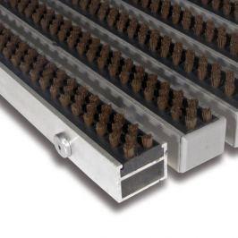FLOMAT Hnědá hliníková čistící kartáčová venkovní vstupní rohož Alu Super - 100 x 100 x 2,7 cm