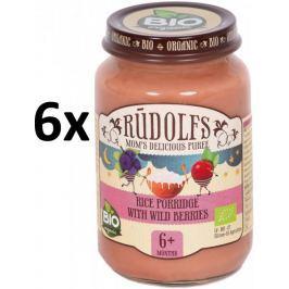 RUDOLFS Dětská kaše rýžová + lesní plody - 6x190 g