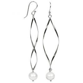 JwL Luxury Pearls Dlouhé stříbrné náušnice s pravými bílými perlami JL0279 stříbro 925/1000
