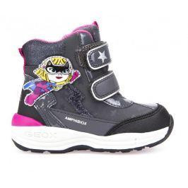 Geox dívčí zimní obuv New Gulp 22 černá/šedá