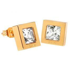 Troli Čtvercové pozlacené náušnice s krystalem KE-011
