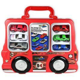 GearBox Autíčka v kufříku 1:48, 6ks červený