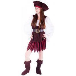 Rappa Kostým pirátka + boty dospělý, vel. M
