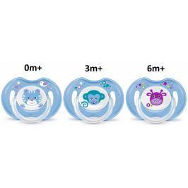 BAYBY Sada dudlíků 0m+, 3m+ a 6m+, modrá