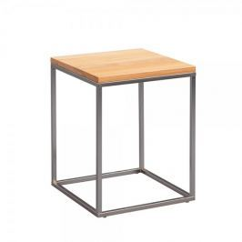 Artenat Odkládací stolek Olaf, 40 cm, buk/nerez