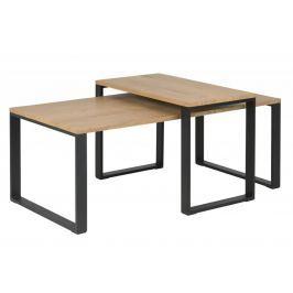 Design Scandinavia Sada konferenčních stolků Tracy, 2 ks, dub/černá