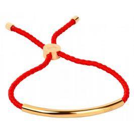 Troli Červený šňůrkový náramek s pozlacenou ocelovou ozdobou