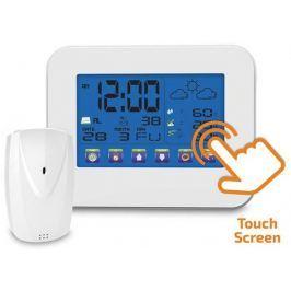 Solight meteostanice, velký dotykový barevný LCD, vnitřní/venkovní teplota, vlhkost, RCC, bílá