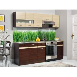 Kuchyně ELIZA 160/220 cm, dub wenge/rijeka světlá