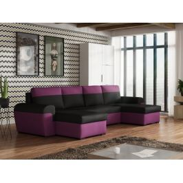 Rohová sedačka FILO U, černá látka/fialová látka