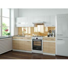 Kuchyně JUNONA LINE 180/240 cm, bílý lesk/dub san remo světlý