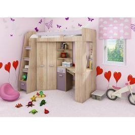 Multifunční patrová postel Antresola L, dub sonoma-levandulová-fialová